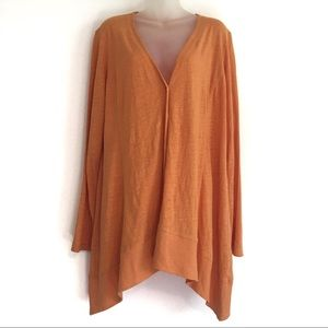 Eileen Fisher Linen Cardigan Sweater Top L Apricot